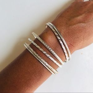 Jewelry - 6 Silver Plated Patterned Stackable Bracelets